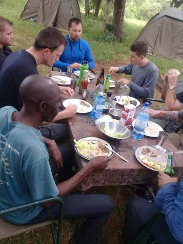 Having a meal in the bush